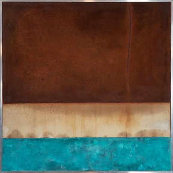 Korrosion türkis, 2015, 84 x 83 x 5 cm, Nessel auf Keilrahmen, Aluminiumrahmen, Eisenoxid, Ölfarbe, Kupfer patiniert