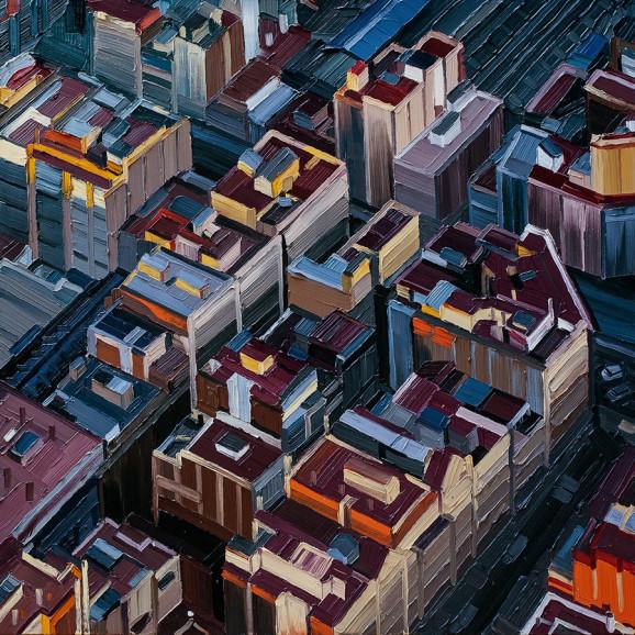Barcelona #02, Serie Reisetagebuch, 2014, 100 x 100 cm, Nessel auf Keilrahmen, Ölfarbe