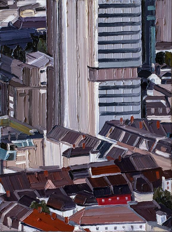 »Frankfurt #06«, 2014, 54 x 40 cm, Nessel auf Keilrahmen, Ölfarbe