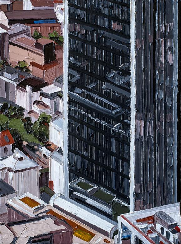 »Frankfurt #02«, 2014, 54 x 40 cm, Nessel auf Keilrahmen, Ölfarbe