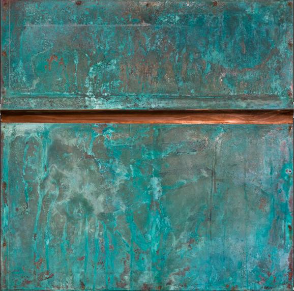 Korrosion Patina Var. 2, 2015, 60 x 60 x 5,8 cm, Holz, Kupferblech patiniert