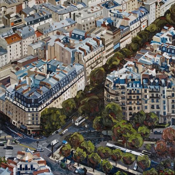 Paris, Serie Reisetagebuch, 2009, 110 x 110 cm, Nessel auf Keilrahmen, Ölfarbe