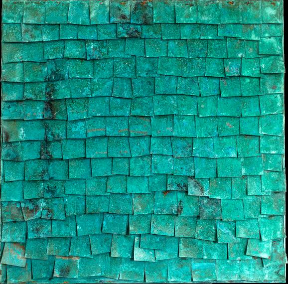Korrosion Patina Var. 3, 2016, 60 x 60 x 5,8 cm, Holz, Kupferblech patiniert