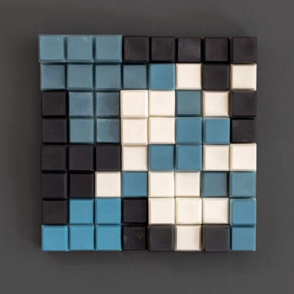 Farbkomposition Quadrat #05, 2017, 37,6 x 37,6 x 5 cm, Holz, Paraffin, Stearin, Ölfarbe