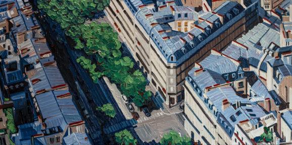 Paris Avenue Carnot, 2018, 90 x 180 cm, Nessel auf Keilrahmen, Ölfarbe