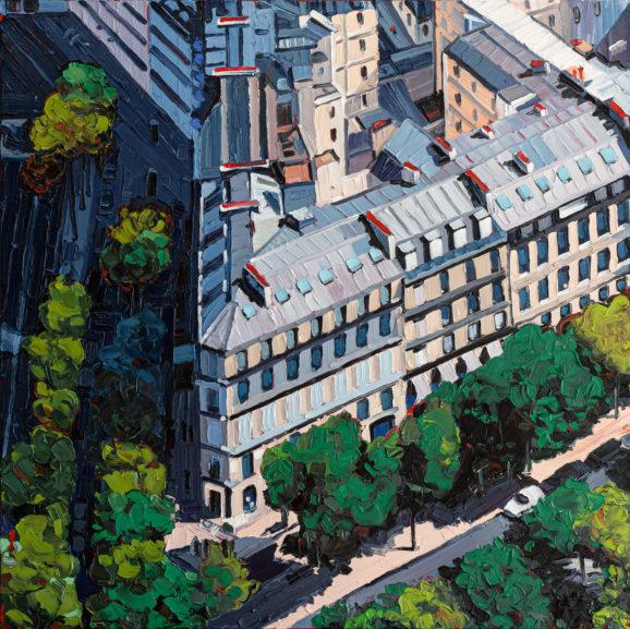 Paris Avenues Matignon-Gabriel, 2019, 120 x 120 cm, Nessel auf Keilrahmen, Ölfarbe