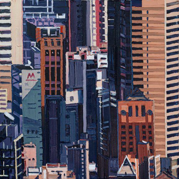 Hong Kong Midtown, 2020, 90 x 90 cm, Ölfarbe auf Nessel